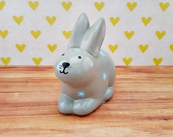 Gray and Blue Bunny Piggy Bank, Bunny Piggy Bank, Piggy Bank, Baby Bank, Blue Piggy Bank, Rabbit Piggy Bank, Baby Shower Gift, Baby Bank