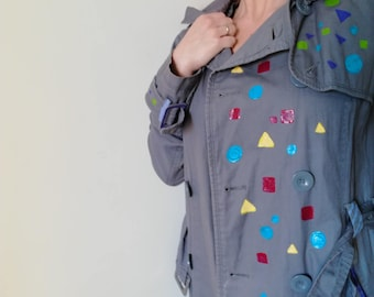 Woman TRENCH COAT COLORFUL Woman Cotton Hood Trench Coat Grey Handpainted sz. 42