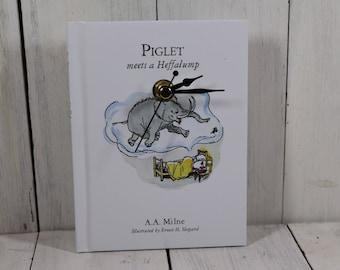 Winnie The Pooh clock - Piglet Meets A Heffalump - Book clock - A. A. Milne - made from an original book - elephant clock