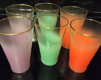 Vintage Blendo Frost Tumblers, Set of 6 Fabulous Retro Colors