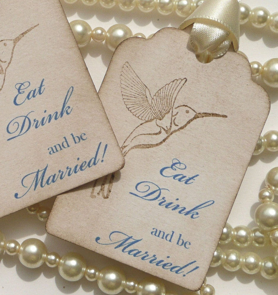 Eat Drink and Be Married Wedding Favor Tags Vintage Style