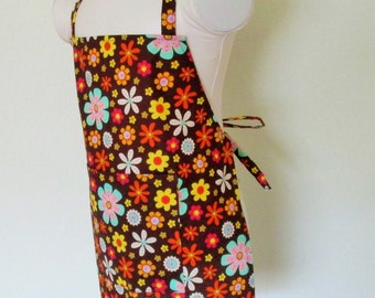 Childrens Apron - Colorful Flowers on A Chocolate Brown Colored Kids Apron, cook, paint, and create in this sweet apron