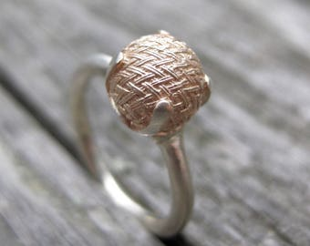 Sterling victorian rose gold plated button ring size 6.25 WOVEN 2 tone engagement ring