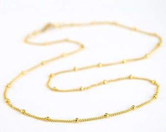 Dew Drops Necklace, 14k Gold Fill, Sterling Silver, Rose Gold, Layering, Dainty Beaded Satellite Chain, DEW DROP Necklace, christmas gifts
