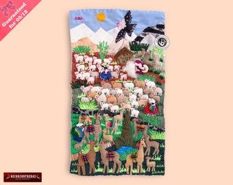 Wall Art Quilt 17.7in Tall- Folk Art Wall 3D Arpillera from Peru - landscape art quilt - Quilted wall hanging - Tapestry decor - Fabrics art