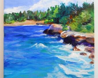 Kauai Hawaii Beach Original Acrylic Painting - Hawaiian Original Art - Kauai Seascape Painting - Tropical Home Decor - Mahaulepu Beach Art