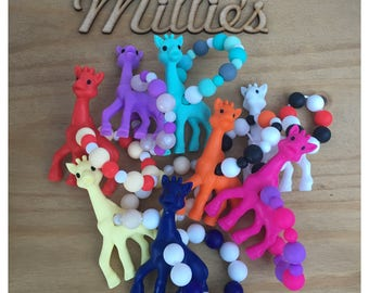 Silicone Giraffe Hand Held Teether Ring