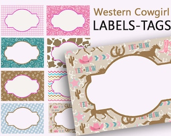 Cowgirl Labels, Printable Name Tags, Western Party, Southwestern Labels, Digital Food Labels, Birthday Party, Printable Labels, Place Cards