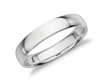 Men's Mid Weight Platinum Comfort Fit Wedding Ring - Mens 4mm Wide Wedding Band - 14K White Gold - 14K Yellow Gold or Platinum