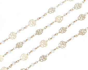 Gold chain with flowers and pearls by 10cm