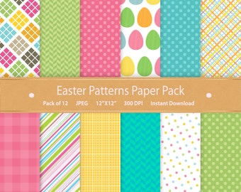 Easter Patterns Paper Pack Digital Paper Easter Background Pattern Commercial Use Instant Download Digital Scrapbooking Printable Easter Art