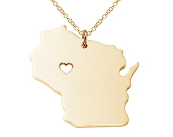 Wisconsin State Necklace,WI State Necklace,Wisconsin State Charm Necklace,State Shaped Necklace,Personalized WI State Necklace With A Heart