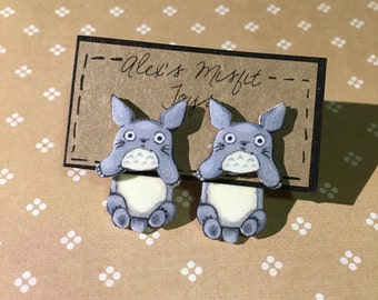 My neighbor totoro clinging dangle faux gauge earrings