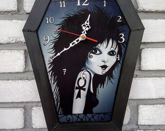 Wooden wall coffin-clock with frame. 67 designs to choose. Handmade clock.