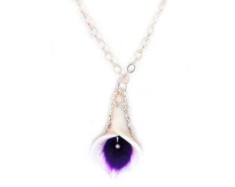 Purple Picasso Calla Lily Necklace - Picasso Calla Lily Jewelry, Picasso Calla Lily Wedding Jewelry