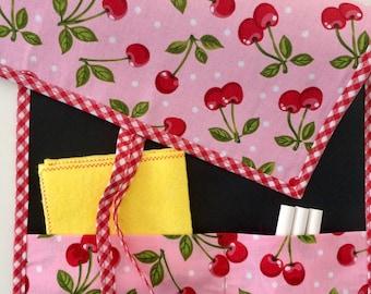 Slate rolling fabric, cherries, travel slate, children slate, pink slate, instructional toy, portable slate