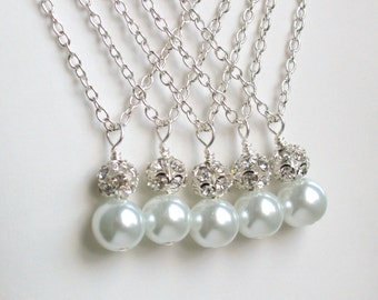 Bridesmaid Jewelry Gift Necklace White Bridesmaid Necklace Pearl Bridesmaid gift Bridesmaid Flower Girl Necklace wedding party necklace