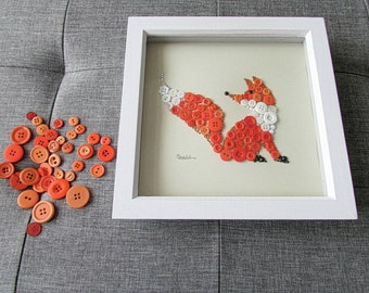 Orange Fox Button Art - Animal Wall Art - 9x9 inches - Perfect Gift for Children - Finn The Fox
