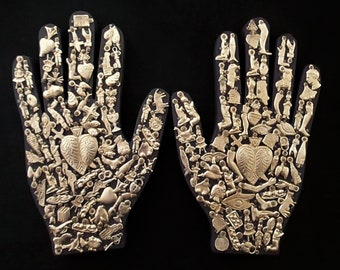 Ex Voto Wood Hand, Healing Hand, Mexican Milagro Charms,  Sacred Heart, Right or Left Hand, Purple