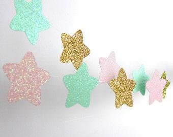 Twinkle, Twinkle Little Star Stars Garland, Gold, Blush and Mint Glitter Garland