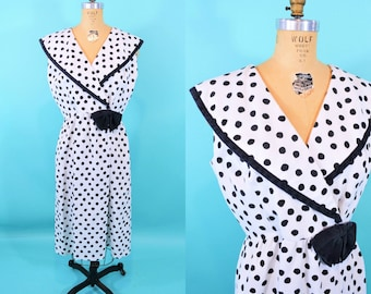1980s dotted dress | black white polka dot Lanz large collar dress | vintage 80s dress | W 31""