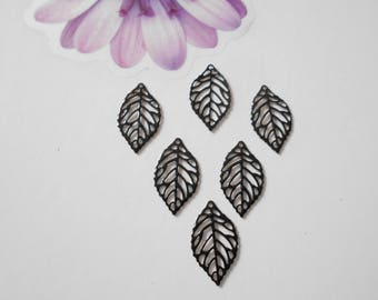 set of 6 prints black enameled leaves