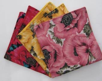 Mens pocket squares in vibrant poppy design