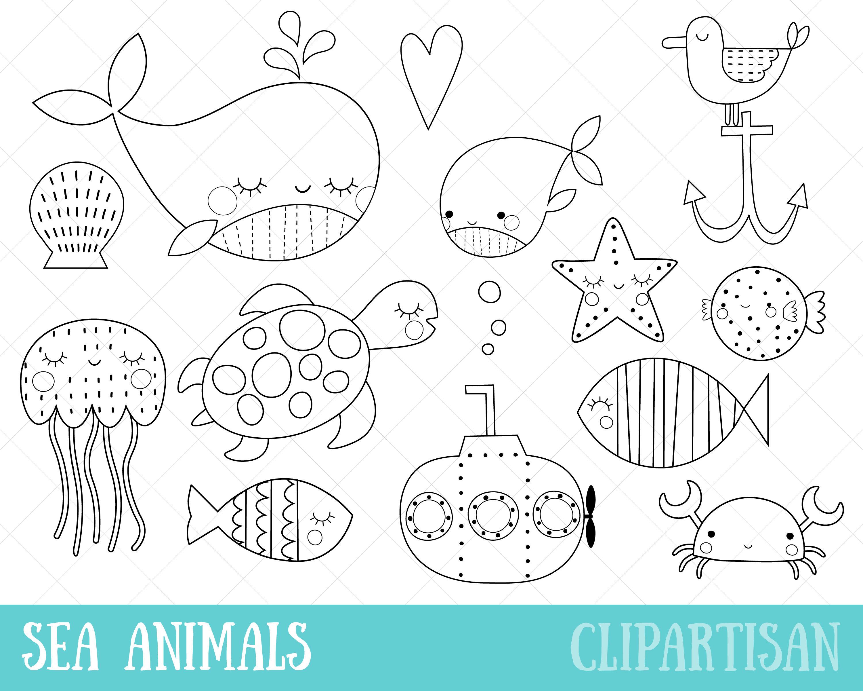 Meer Tiere Clipart Meer Kreaturen digitale Briefmarken PNG