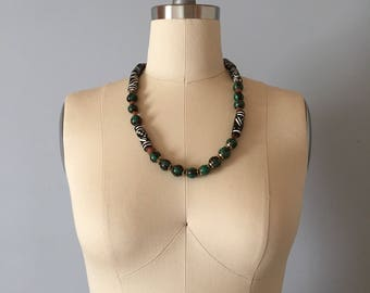 ethnic beaded necklace || 70s tribal painted beads necklace