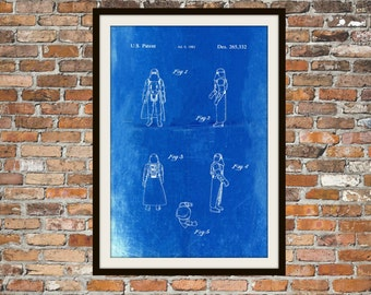 Star Wars Stormtroopers Blueprint Art of Stormtroopers Hoth Technical Drawings Engineering Drawings Patent Blue Print Art Item 0106