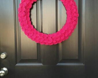 Hot Pink Rose Valentine's Day Wreath / Valentine's Decor / Valentine's Wreath by The Decor Room
