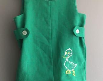 Vintage Green Jon Jon romper with embroidered duck