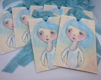 Mixed Media Gift Tags Collage Original Art - Cecilia the little Gymnast - Art print by Vintage Paris Market, Whimsical Girl Art