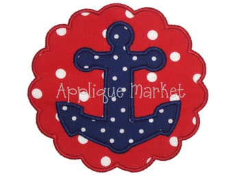 Machine Embroidery Design Applique Anchor Scallop INSTANT DOWNLOAD