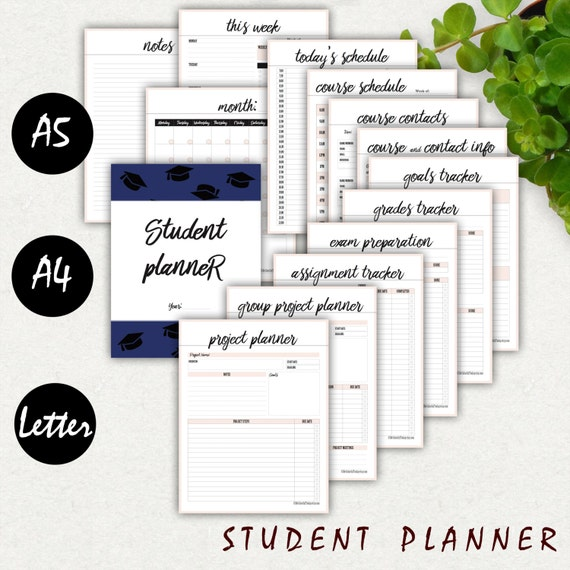 College Student Planner Printable A A Letter  High