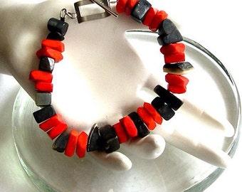 On Sale Bracelet. Red Bracelet. Bone Bead Bracelet. Chunky Bracelet. Geometric Bracelet. Big Bead Bracelet. Expresso Bracelet. Black Bracele