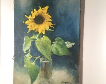 Vintage Sunflower Painting Oil Folk Art Country Decor French Farmhouse Still Life