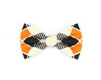 Plaid Dog Bow Tie Black Cream and Burnt Orange Autumn Fall Old School Retro Pet Bowtie - Barney