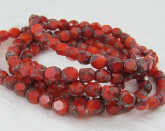 Red Orange 8MM Beads 3 Cut Faceted Fire Polished Gray Travertine Picasso Opaque Premium Czech Glass 10 Beads PSC3CUT002 A