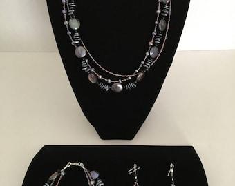 Metallic Gray and Freshwater Pearl Necklace, Bracelet & Earrings