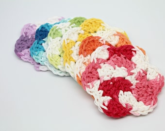 Rainbow Crochet Scrubbies- Face Scrubbies- Makeup Remover- Candle Mat- Mug Rug- Crochet Coasters- Set of 6