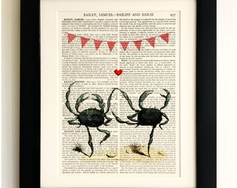 FRAMED ART PRINT on old antique book page - Dancing Crabs, Bunting, Heart, Love, Vintage Wall Art Print Encyclopaedia Dictionary Page
