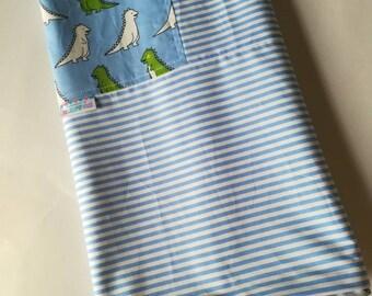 Kids blanket - Flannel Blanket - Boys blanket - cotton blanket- Summer Blanket - Travel blanket - Blue Dino with Robin