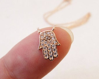 Teeny Tiny Gold, Rose Gold or Silver plated hamsa hand necklace with cubic zirconia ...dainty and simple