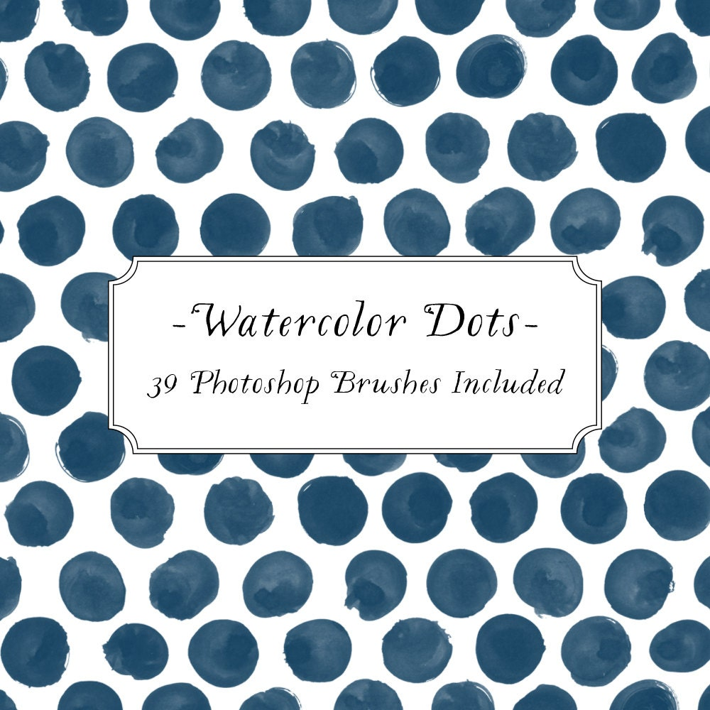 Watercolor Dot Photoshop Brush Clipart set Polka Dot Blog
