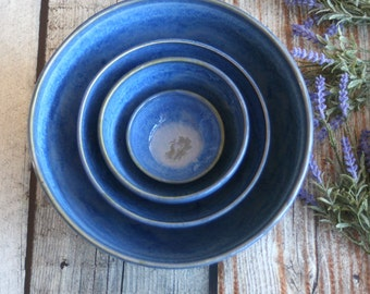 Stoneware Nesting Set Handmade Ceramic Rustic Blue Pottery Bowls Four Piece Stacking Bowls Ready to Ship Made in USA
