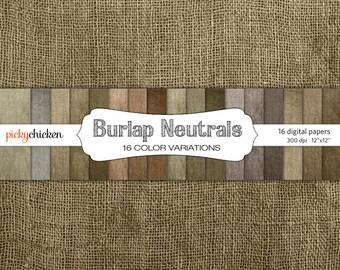 Burlap Digital Paper in 16 Neutral Colors - 12x12 fabric scrapbook paper pack texture photography backdrop Instant Download 8041