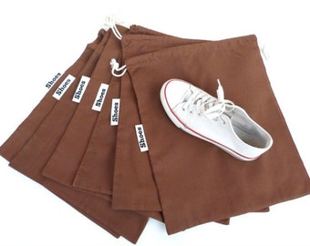 Set of 6  shoes bags, 3 sizes in brown, black, white color