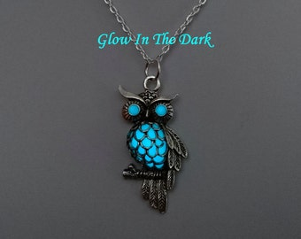 Aqua Glow in the Dark Owl Necklace - Owl Pendant - Bird Jewelry - Bird Necklace -  Birthday Gift - Gifts For Her - Teen Gift