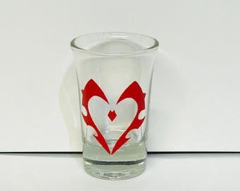 World of Warcraft Valentine Gift, Horde Symbol, Horde Valentine, Geeky Glassware, Geeky Gift, World of Warcraft Shot Glass, For the Horde
